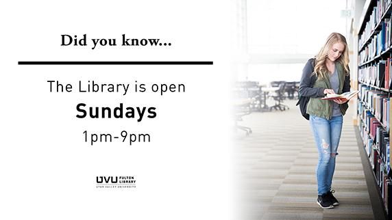 Girl with book. Did you know the library is open Sundays 1pm-9pm?