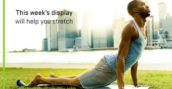 Ad for yoga book display on 1st floor of library.