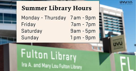 Library building. Summer library hours are: