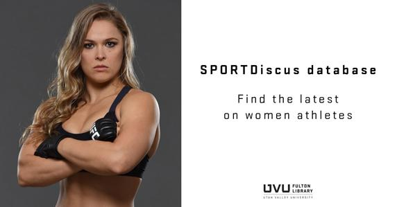 Ronda Rousey. Ad for sportdiscus database.