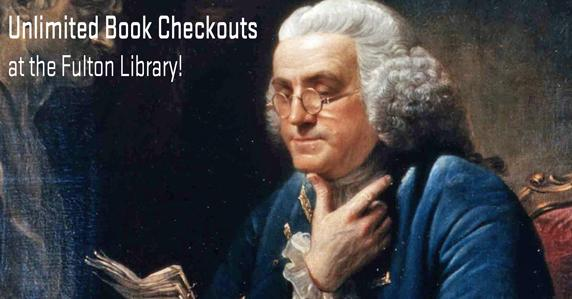 Benjamin Franklin reading a book. Get unlimited checkouts at the Fulton Library.