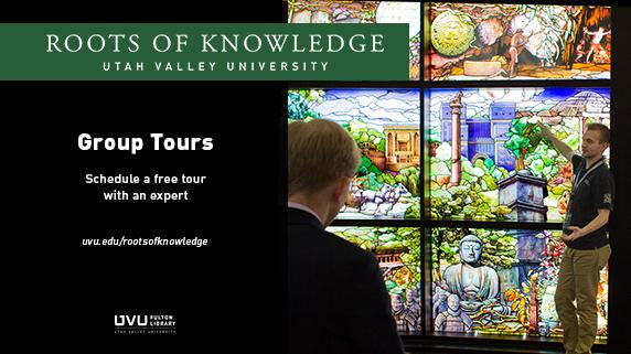 Roots of Knowledge stained glass. Group Tours. Schedule a free tour with an expert.