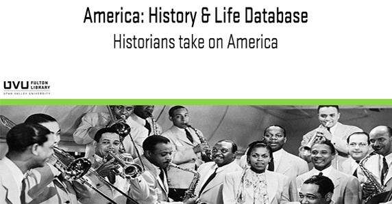 Black people playing instruments. Ad for America: History and life database.