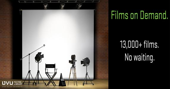 Movie filming equipment. Ad for films on demand database.