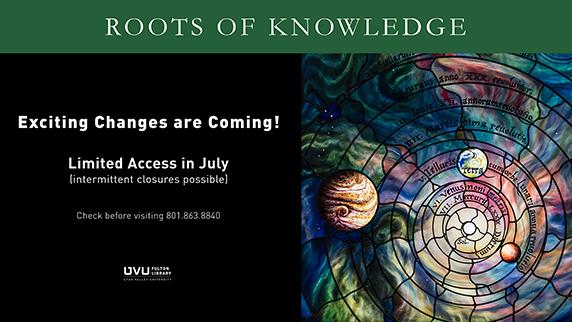 Roots of Knowledge Stained Glass. Exciting changes are coming. possible closures in July. Call before coming 801.863.8886.