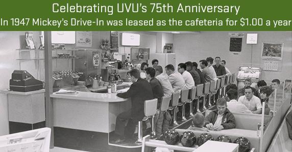 ad: Celebrating UVU's 75th Anniversary. In 1947 Mickey's Drive-In was leased as the cafeteria for $1 a year.