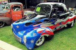 Red white and blue car
