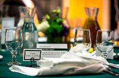 place cards, glasses, and table settings
