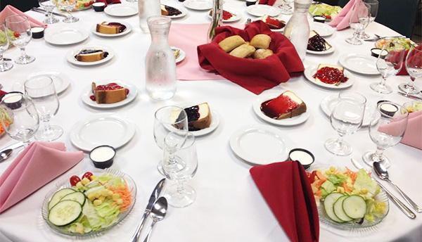 Table layout with salads