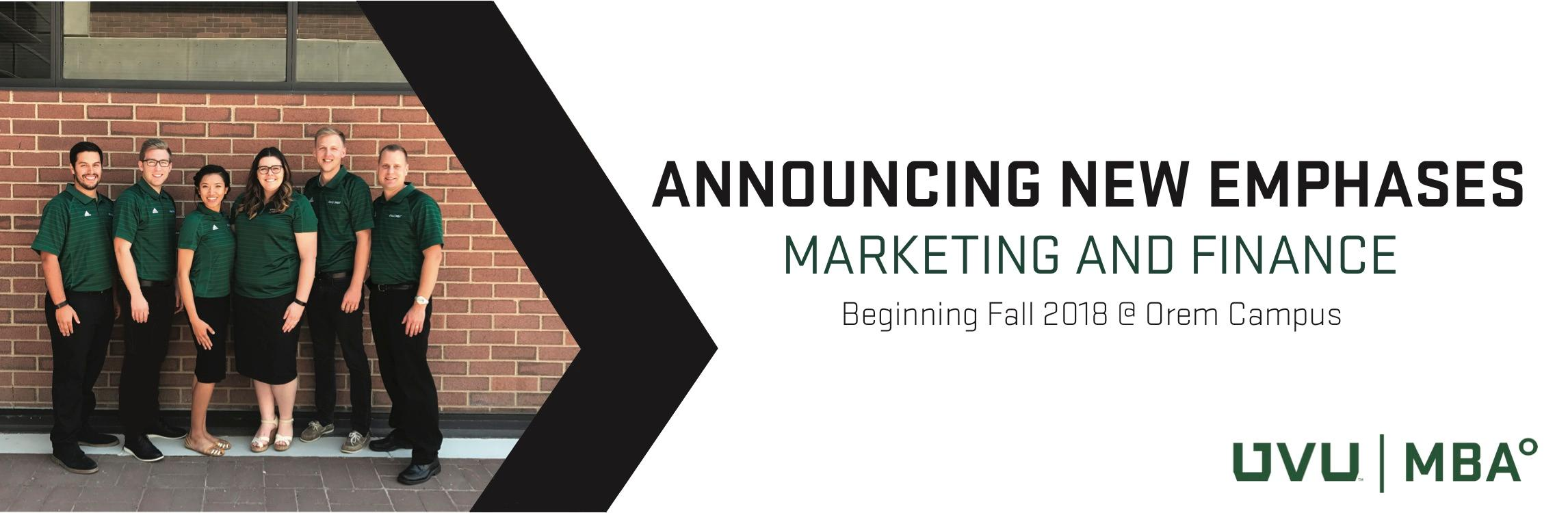 Marketing and Finance emphases are now available.