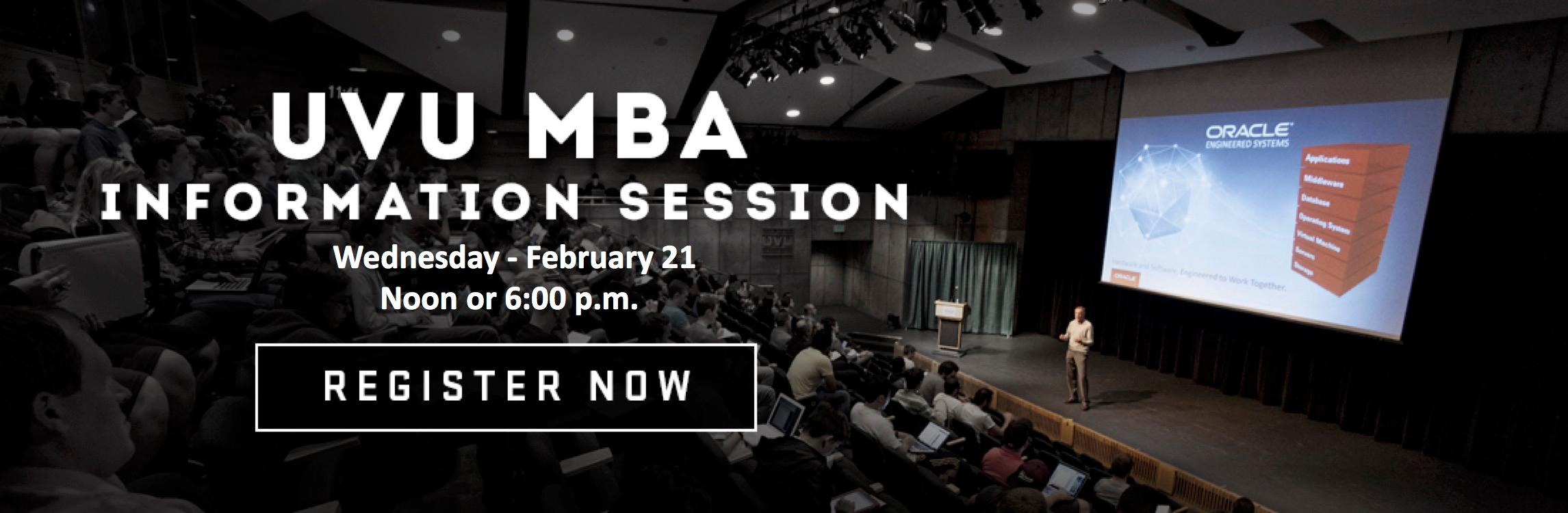 The next UVU MBA Information Session will be held Feb. 21