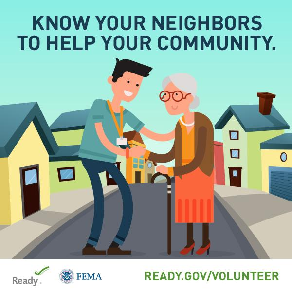 boy helping elderly woman across a road,with the header Know your Neighbors to help your community.