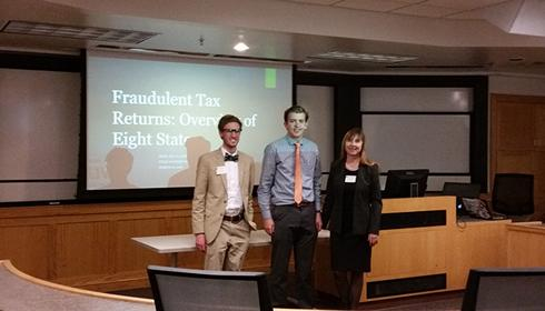 UVU Students Riley Frazier and Alec Guthrie along with Professor Jill Jasperson, Professor of Business Law presented at the Utah Academy of Sciences, Arts, and Letters Conference on March 10, 2016.