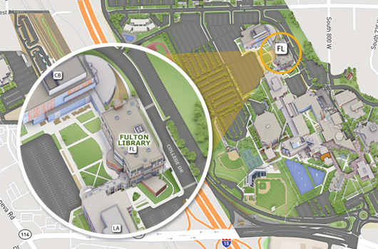 Map showing location of Fulton Library at UVU