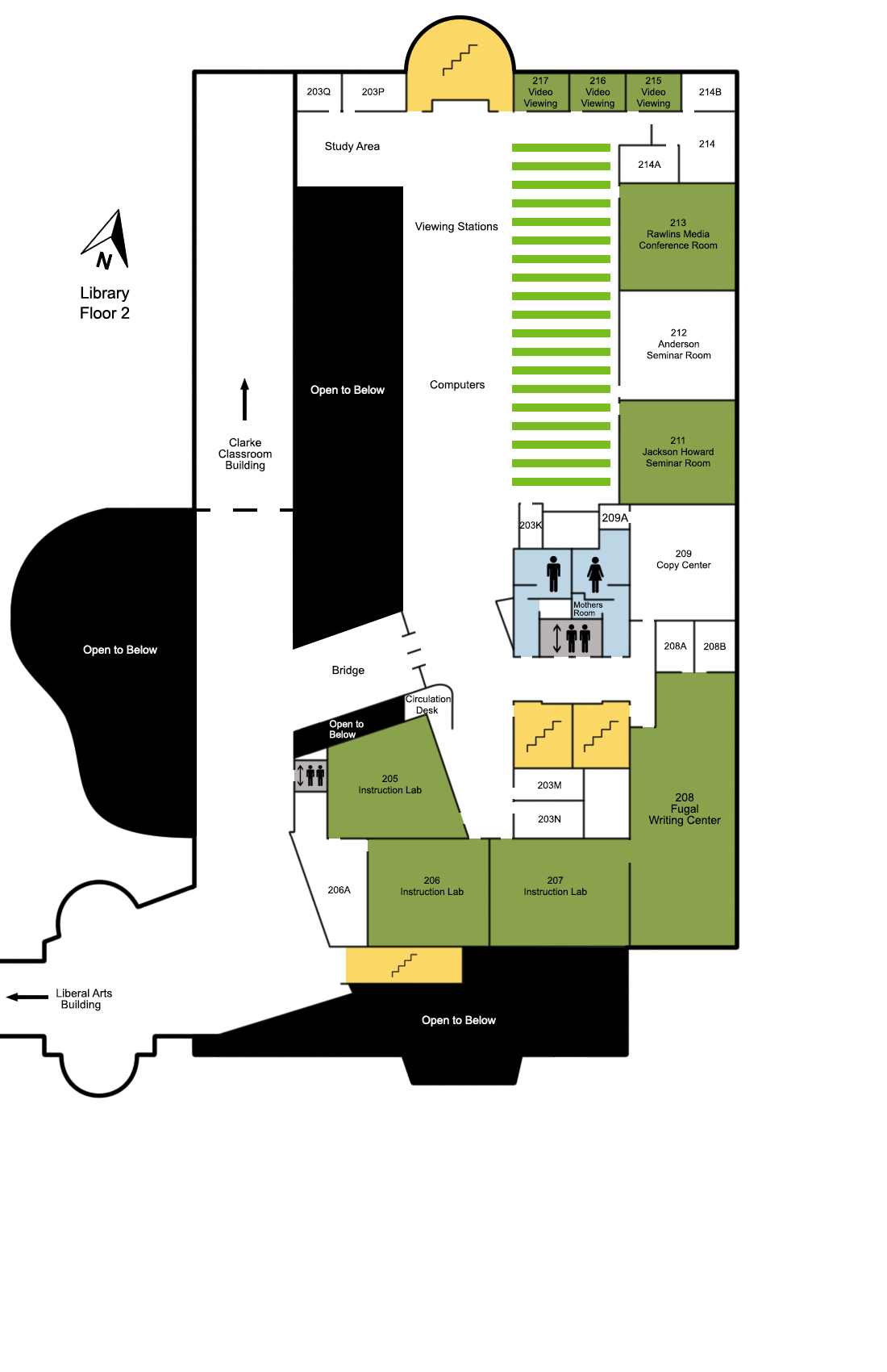 Fulton Library map of the second floor.