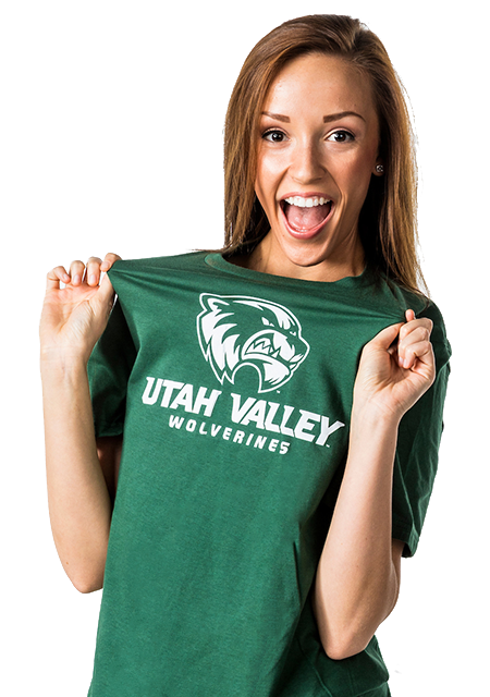 Female student in UVU shirt