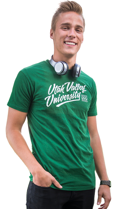 Photo of student in UVU shirt