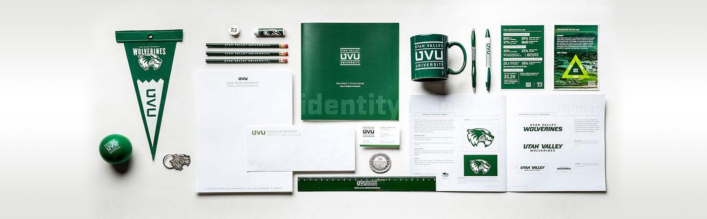 A spread of UVU marketing materials