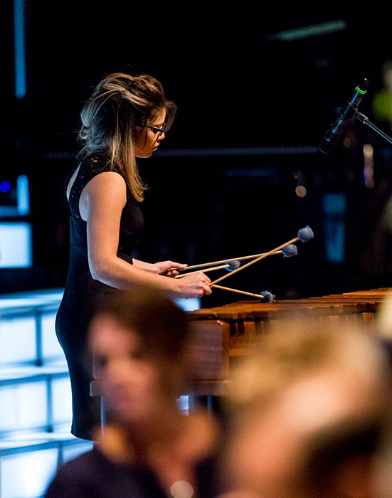 Girl playing the marimba