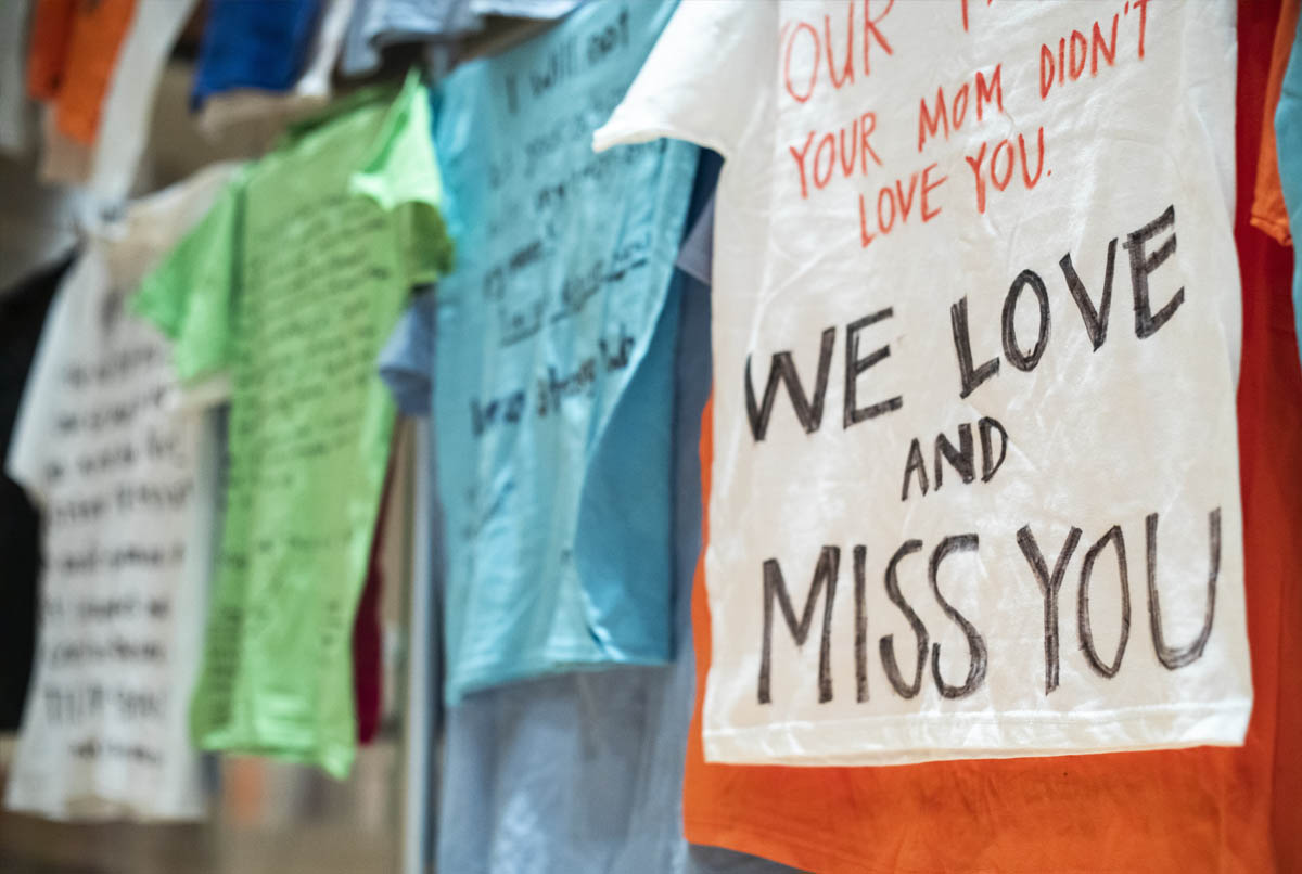 T-shirts written on by survivors of domestic abuse in Utah County.