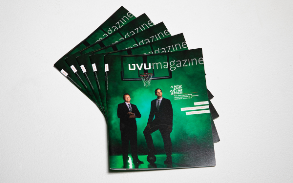 Stack of UVU Magazine issues.