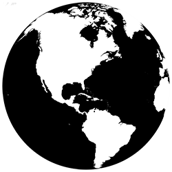 black and white globe.