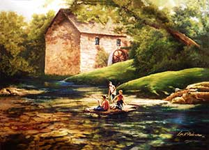 Painting of a country scene.  A water wheel house sits in the background of a stream where three boys are sitting on the banks fishing.