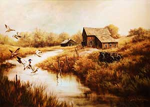 Painting is of a country scene where ducks are flying into a stream.  The stream passes two farm houses that are in the distance.