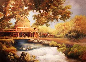Painting is of a water wheel house with a horse and buggy parked outside.  There are two people working in the water wheel house.  A stream passes by the house and flows forming a small water fall.