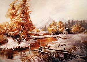 The painting is a winter scene where a stream passes through a wooden fence.  There is a brick bridge in the distance, even farther in the distance is a mountain.  The ground is covered in snow.
